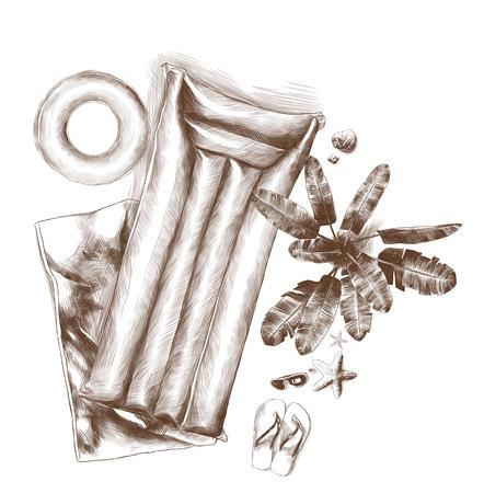 composición de accesorios de playa vista superior en la arena gafas de mentira esquisto conchas de mar toalla colchón inflable y palmera en crecimiento círculo, ilustración monocroma de gráficos vectoriales de boceto