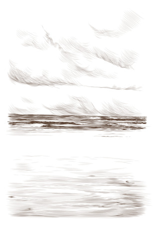 landscape card with a picture of a Sunny sandy beach with sea wave in the distance and clear skies, the sketch vector graphics monochrome illustration on white background