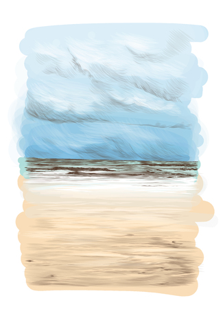 landscape card with a picture of a Sunny sandy beach with sea wave in the distance and clear skies, the sketch vector graphics color illustration