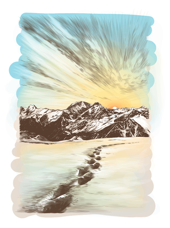 landscape postcard depicting snowy mountain peaks at sunset, human footprints in the snow in the foreground going off into the distance, sketch vector graphics color illustration