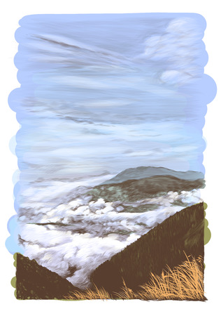 landscape card with mountains and hills in clouds with dry grass in the foreground, sketch vector graphics color illustration