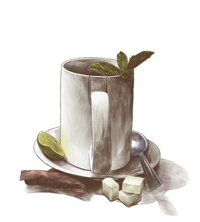 tea Cup with mint leaves on a saucer with a teaspoon next to a tea bag and three pieces of sugar, sketch vector graphics color illustration on a white background