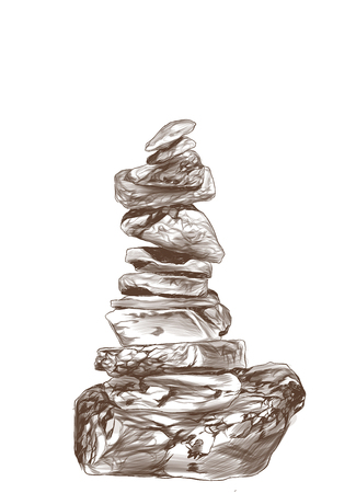 stones stand on each other place of force, sketch vector graphics monochrome illustration on white background Çizim