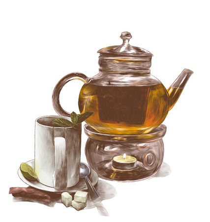 tea mug with mint leaves on a saucer with a teaspoon and a glass teapot with tea and decorative candles on the bottom side is a tea bag and three pieces of sugar, sketch vector graphics color