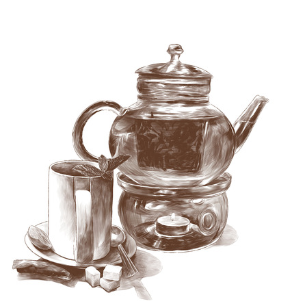tea mug with mint leaves on a saucer with a teaspoon and a glass teapot with tea and decorative candles on the bottom side is a tea bag and three pieces of sugar, sketch vector graphics monochrome