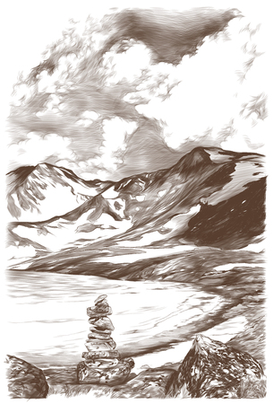 landscape picture of snow mountains and ice lake on sky background with clouds in the foreground stones drawn on each other, sketch vector graphics monochrome illustration on white background Illustration