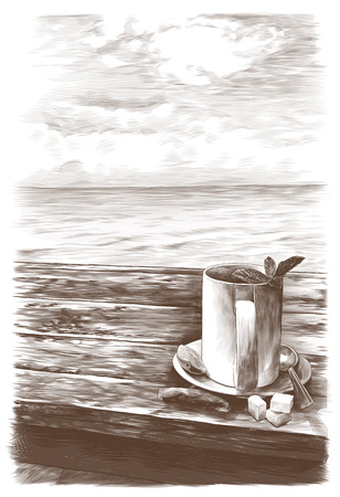 tea mug with mint leaves on a saucer with a teaspoon standing on a wooden table on the background of the sea nearby is a tea bag and three pieces of sugar, sketch vector graphics monochrome