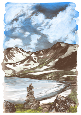 landscape picture of snow mountains and ice lake on sky background with clouds in the foreground stones drawn on each other, sketch vector graphics color illustration on white background