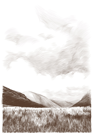 landscape picture of mountains dry grass on sky background with light clouds, sketch vector graphics monochrome illustration on white background Archivio Fotografico - 114968028