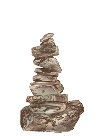 stones stand on each other place of strength, sketch vector graphics color illustration on white background