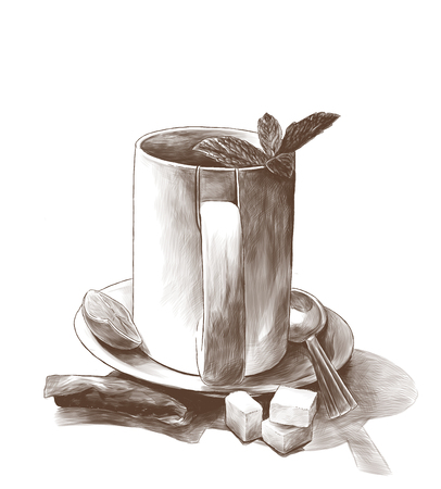 tea Cup with mint leaves on a saucer with a teaspoon next to a tea bag and three pieces of sugar, sketch vector graphics monochrome illustration on a white background