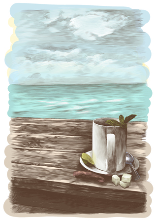 tea mug with mint leaves on a saucer with a teaspoon standing on a wooden table on the background of the sea nearby is a tea bag and three pieces of sugar, sketch vector graphics color illustration