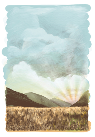 landscape picture of mountains of dry grass on sky background with light clouds with sun rays at sunset, sketch vector graphics color illustration on white background