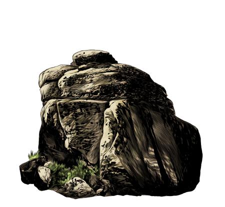 Gran adoquín de piedra con vegetación y césped, dibujo ilustración gráfica de vector de color sobre fondo blanco.