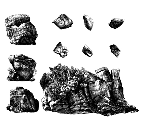 set of different stones boulders and rocks with trees and vegetation, sketch vector graphics monochrome illustration on white background
