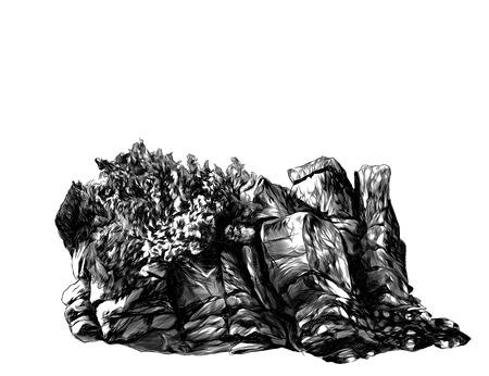 Steinfelsen mit Busch, Bäumen und Gras, Skizze Vektorgrafiken monochrome Darstellung auf weißem Hintergrund