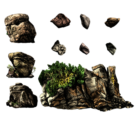 set of different stones boulders and rocks with trees and vegetation, sketch vector graphics color illustration on white background