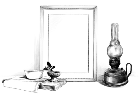 template picture in a frame standing on the table next to a kerosene lamp and a wooden stand with a napkin on which stands a saucer and a wooden Cup, sketch vector graphics monochrome illustration