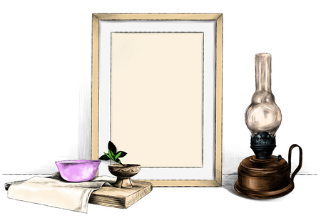template picture in a frame standing on the table next to a kerosene lamp and a wooden stand with a napkin on which stands a saucer and a wooden Cup, sketch vector graphics color illustration