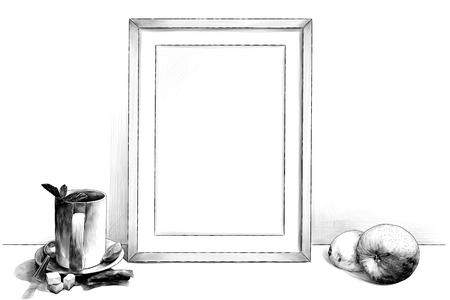 template picture in frame standing on the table next to a Cup of tea on a saucer with a teaspoon of lime and sugar pieces and with Apple and lemon, sketch vector graphics monochrome illustration Ilustração