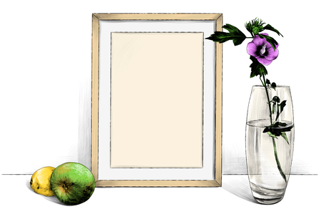 template picture in frame standing on the table next to a glass vase with a flower and with an Apple and lemon, sketch vector graphics color illustration on white background Ilustração