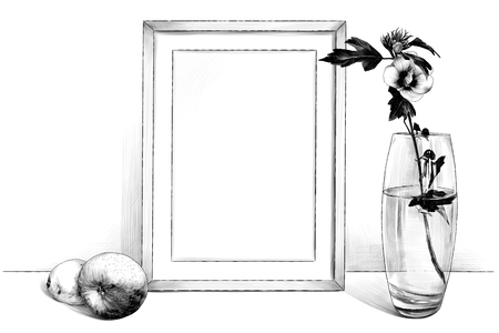 template picture in a frame sitting on the table, beside a glass vase with a flower and an Apple and a lemon, sketch vector graphics monochrome illustration on white background 일러스트