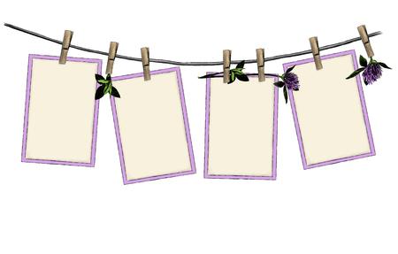ensemble de motifs de suspension ouverte sur des pinces à linge sur une corde décorée de fleurs et de feuilles de trèfle belle composition, croquis d'illustration de couleur de graphiques vectoriels sur fond blanc