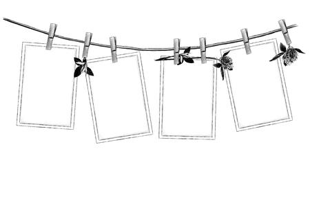 ensemble de motifs de suspension ouverte sur des pinces à linge sur une corde décorée de fleurs et de feuilles de trèfle belle composition, croquis de graphiques vectoriels illustration monochrome sur fond blanc