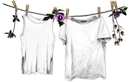 t-shirt and sleeveless t-shirt hanging on linen rope on wooden clothespins, rope decorated with flowers and leaves of clover and hibiscus, sketch vector graphics color illustration on white background