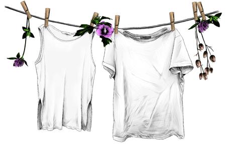 t-shirt et t-shirt sans manches suspendus à une corde en lin sur des pinces à linge en bois, corde décorée de fleurs et de feuilles de trèfle et d'hibiscus, croquis d'illustrations en couleurs de graphiques vectoriels sur fond blanc