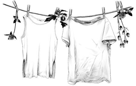 t-shirt et t-shirt sans manches suspendus à une corde de lin sur des pinces à linge en bois, corde décorée de fleurs et de feuilles de trèfle et d'hibiscus, croquis d'illustration monochrome de graphiques vectoriels Vecteurs