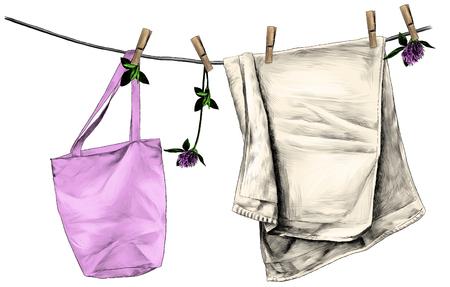 serviette et sac suspendus à une corde en lin sur des pinces à linge en bois, corde décorée de fleurs et de feuilles de trèfle, croquis d'illustration couleur graphique vectorielle sur fond blanc