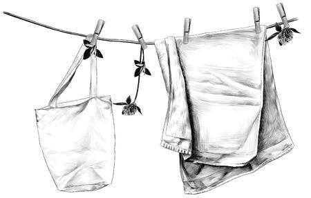 Handtuch und Tasche hängen am Leinenseil auf hölzernen Wäscheklammern, Seil verziert mit Blumen und Kleeblättern, Skizze Vektorgrafiken monochrome Illustration auf weißem Hintergrund