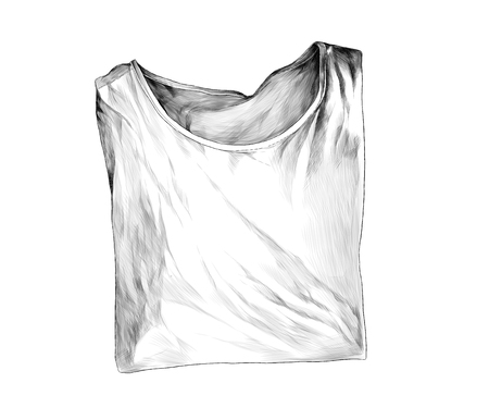 neatly folded t-shirt lies clothes for patterns and design, sketch vector graphics monochrome illustration on white background