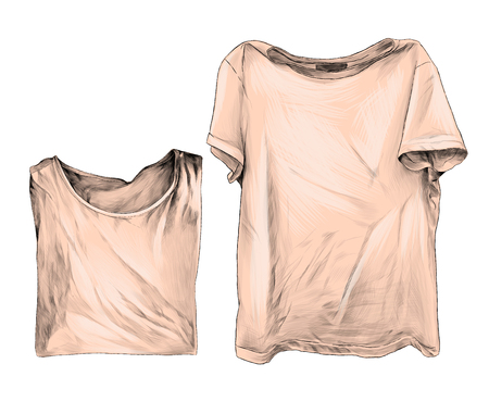 two t-shirts lie next to one laid out second neatly folded clothes for patterns and design, sketch vector graphics color illustration on white background 向量圖像