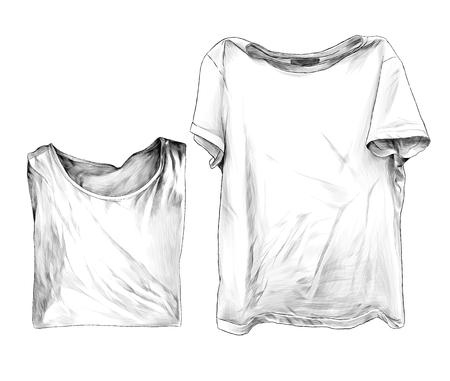 Deux t-shirts se trouvent à côté d'un deuxième vêtements soigneusement pliés pour les motifs et la conception, croquis de graphiques vectoriels illustration monochrome sur fond blanc Vecteurs