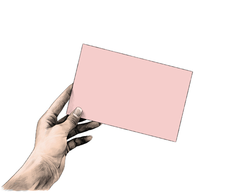 the female hand sticks out from the side and holds the rectangular card blank, sketch vector graphics pattern, color illustration on white background