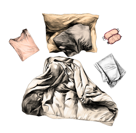 set of sleeping accessories blanket pillow bed linen sleeping mask pajamas and towel, sketch vector graphics color illustration on white background Imagens - 112379004