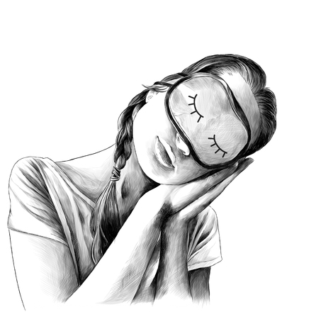 girl in a t-shirt with pigtails on his head and a mask to sleep in front tilted his head and put his hands in the pose of a sleeping man, sketch vector graphics monochrome illustration Illustration