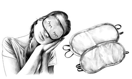 girl in a sleeping man pose with tilted head and wearing a sleep mask and next two sleep masks, sketch vector graphics monochrome illustration on white background