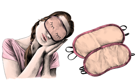 girl in a sleeping man pose with tilted head and wearing a sleep mask and next two sleep masks, sketch vector graphic color illustration on white background