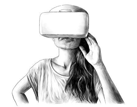 girl standing and smiling in virtual reality glasses, sketch vector graphics monochrome illustration on white background
