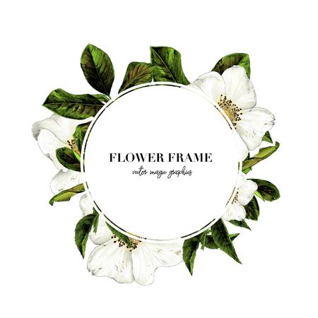 runder weißer Rahmen mit Schriftzug verziert mit Blumen, Skizzenvektorgrafik-Farbillustration auf weißem Hintergrund Vektorgrafik