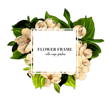 square white frame with lettering decorated with flowers, sketch vector graphic color illustration on white background Ilustração