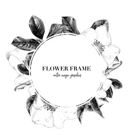 round white frame with lettering decorated with flowers, sketch vector graphics monochrome illustration on white background Ilustração