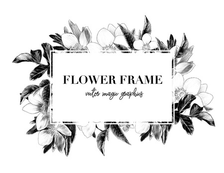 square white frame with lettering decorated with flowers, sketch vector graphics monochrome illustration on white background Ilustração