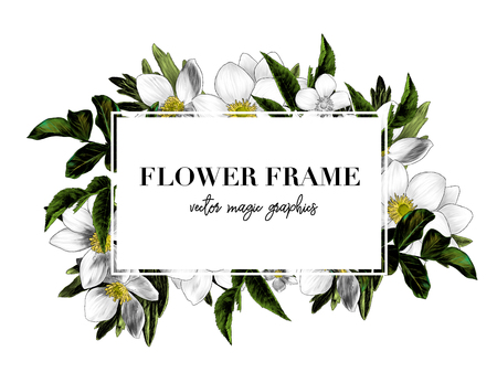 square white frame with lettering decorated with flowers, sketch vector graphic color illustration on white background Çizim