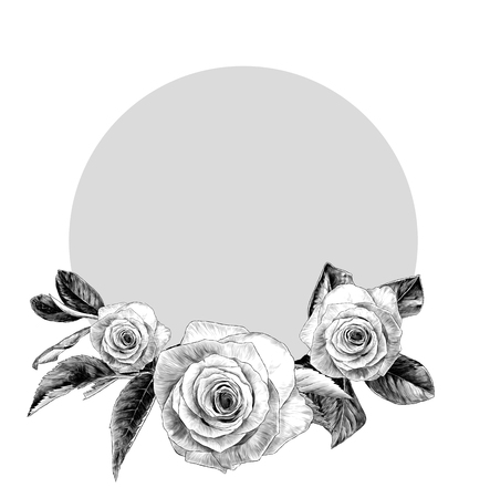 round frame decorated with rose flowers and foliage, sketch vector graphics monochrome illustration on white background