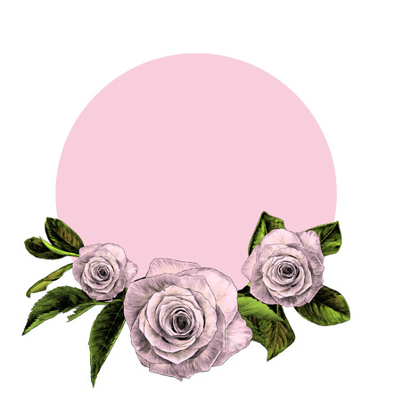 round frame decorated with rose flowers and foliage, sketch vector graphic color illustration on white background