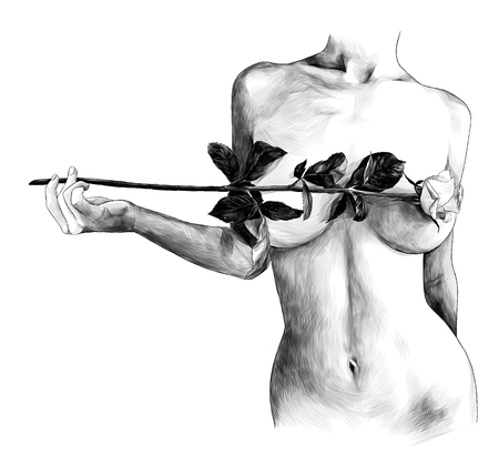 Nude female breast covered with rose flower, sketch vector graphic monochrome illustration on white background